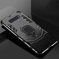 Silikon Hülle Handyhülle und Kunststoff Schutzhülle Tasche mit Ständer für Samsung Galaxy S10 5G Schwarz