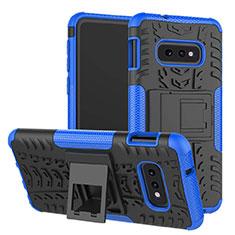 Silikon Hülle Handyhülle und Kunststoff Schutzhülle Tasche mit Ständer für Samsung Galaxy S10e Blau