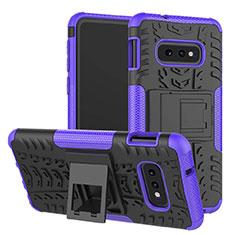 Silikon Hülle Handyhülle und Kunststoff Schutzhülle Tasche mit Ständer für Samsung Galaxy S10e Violett