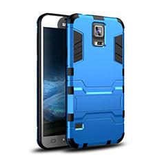 Silikon Hülle Handyhülle und Kunststoff Schutzhülle Tasche mit Ständer für Samsung Galaxy S5 G900F G903F Blau