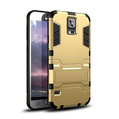 Silikon Hülle Handyhülle und Kunststoff Schutzhülle Tasche mit Ständer für Samsung Galaxy S5 G900F G903F Gold