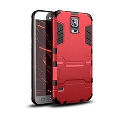 Silikon Hülle Handyhülle und Kunststoff Schutzhülle Tasche mit Ständer für Samsung Galaxy S5 G900F G903F Rot