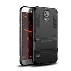 Silikon Hülle Handyhülle und Kunststoff Schutzhülle Tasche mit Ständer für Samsung Galaxy S5 G900F G903F Schwarz
