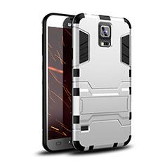 Silikon Hülle Handyhülle und Kunststoff Schutzhülle Tasche mit Ständer für Samsung Galaxy S5 G900F G903F Weiß