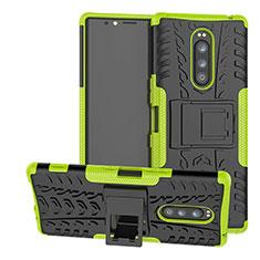 Silikon Hülle Handyhülle und Kunststoff Schutzhülle Tasche mit Ständer für Sony Xperia 1 Grün
