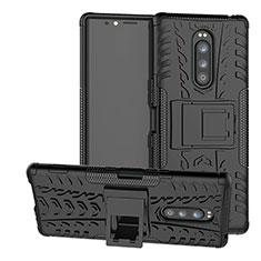 Silikon Hülle Handyhülle und Kunststoff Schutzhülle Tasche mit Ständer für Sony Xperia 1 Schwarz