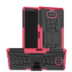 Silikon Hülle Handyhülle und Kunststoff Schutzhülle Tasche mit Ständer für Sony Xperia 10 Pink
