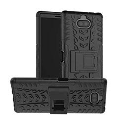 Silikon Hülle Handyhülle und Kunststoff Schutzhülle Tasche mit Ständer für Sony Xperia 10 Plus Schwarz