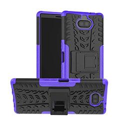 Silikon Hülle Handyhülle und Kunststoff Schutzhülle Tasche mit Ständer für Sony Xperia 10 Plus Violett
