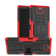 Silikon Hülle Handyhülle und Kunststoff Schutzhülle Tasche mit Ständer für Sony Xperia 10 Rot
