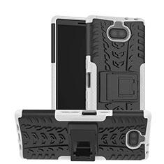 Silikon Hülle Handyhülle und Kunststoff Schutzhülle Tasche mit Ständer für Sony Xperia 10 Weiß
