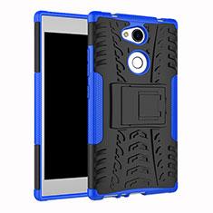 Silikon Hülle Handyhülle und Kunststoff Schutzhülle Tasche mit Ständer für Sony Xperia L2 Blau