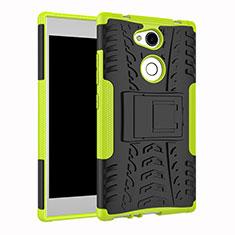 Silikon Hülle Handyhülle und Kunststoff Schutzhülle Tasche mit Ständer für Sony Xperia L2 Grün