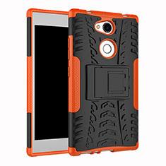 Silikon Hülle Handyhülle und Kunststoff Schutzhülle Tasche mit Ständer für Sony Xperia L2 Orange