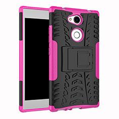 Silikon Hülle Handyhülle und Kunststoff Schutzhülle Tasche mit Ständer für Sony Xperia L2 Pink