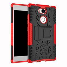 Silikon Hülle Handyhülle und Kunststoff Schutzhülle Tasche mit Ständer für Sony Xperia L2 Rot