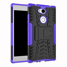 Silikon Hülle Handyhülle und Kunststoff Schutzhülle Tasche mit Ständer für Sony Xperia L2 Violett
