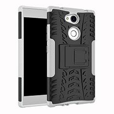 Silikon Hülle Handyhülle und Kunststoff Schutzhülle Tasche mit Ständer für Sony Xperia L2 Weiß
