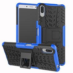 Silikon Hülle Handyhülle und Kunststoff Schutzhülle Tasche mit Ständer für Sony Xperia L3 Blau