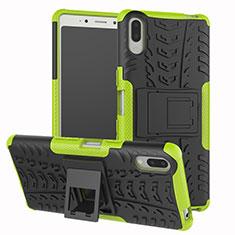 Silikon Hülle Handyhülle und Kunststoff Schutzhülle Tasche mit Ständer für Sony Xperia L3 Grün