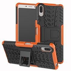 Silikon Hülle Handyhülle und Kunststoff Schutzhülle Tasche mit Ständer für Sony Xperia L3 Orange