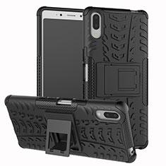 Silikon Hülle Handyhülle und Kunststoff Schutzhülle Tasche mit Ständer für Sony Xperia L3 Schwarz