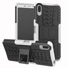 Silikon Hülle Handyhülle und Kunststoff Schutzhülle Tasche mit Ständer für Sony Xperia L3 Silber