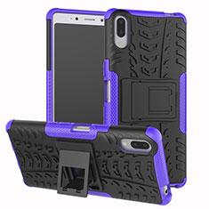 Silikon Hülle Handyhülle und Kunststoff Schutzhülle Tasche mit Ständer für Sony Xperia L3 Violett
