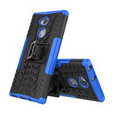 Silikon Hülle Handyhülle und Kunststoff Schutzhülle Tasche mit Ständer für Sony Xperia XA2 Blau