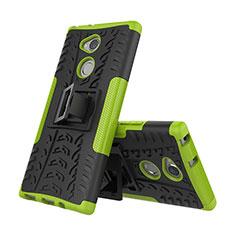 Silikon Hülle Handyhülle und Kunststoff Schutzhülle Tasche mit Ständer für Sony Xperia XA2 Grün