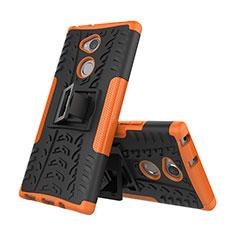Silikon Hülle Handyhülle und Kunststoff Schutzhülle Tasche mit Ständer für Sony Xperia XA2 Orange