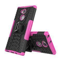 Silikon Hülle Handyhülle und Kunststoff Schutzhülle Tasche mit Ständer für Sony Xperia XA2 Plus Pink