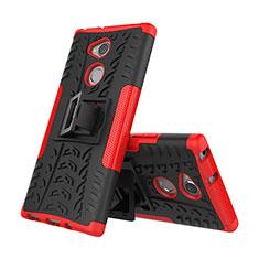 Silikon Hülle Handyhülle und Kunststoff Schutzhülle Tasche mit Ständer für Sony Xperia XA2 Plus Rot