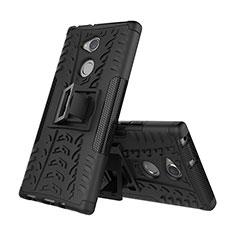 Silikon Hülle Handyhülle und Kunststoff Schutzhülle Tasche mit Ständer für Sony Xperia XA2 Plus Schwarz