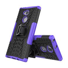 Silikon Hülle Handyhülle und Kunststoff Schutzhülle Tasche mit Ständer für Sony Xperia XA2 Plus Violett
