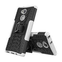 Silikon Hülle Handyhülle und Kunststoff Schutzhülle Tasche mit Ständer für Sony Xperia XA2 Weiß