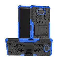 Silikon Hülle Handyhülle und Kunststoff Schutzhülle Tasche mit Ständer für Sony Xperia XA3 Blau