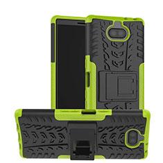 Silikon Hülle Handyhülle und Kunststoff Schutzhülle Tasche mit Ständer für Sony Xperia XA3 Grün