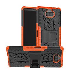 Silikon Hülle Handyhülle und Kunststoff Schutzhülle Tasche mit Ständer für Sony Xperia XA3 Orange
