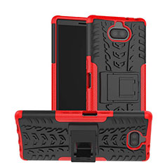 Silikon Hülle Handyhülle und Kunststoff Schutzhülle Tasche mit Ständer für Sony Xperia XA3 Ultra Rot