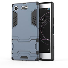 Silikon Hülle Handyhülle und Kunststoff Schutzhülle Tasche mit Ständer für Sony Xperia XZ1 Compact Blau