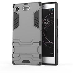 Silikon Hülle Handyhülle und Kunststoff Schutzhülle Tasche mit Ständer für Sony Xperia XZ1 Compact Grau