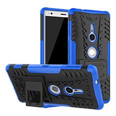 Silikon Hülle Handyhülle und Kunststoff Schutzhülle Tasche mit Ständer für Sony Xperia XZ2 Blau