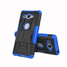 Silikon Hülle Handyhülle und Kunststoff Schutzhülle Tasche mit Ständer für Sony Xperia XZ2 Compact Blau