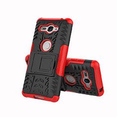 Silikon Hülle Handyhülle und Kunststoff Schutzhülle Tasche mit Ständer für Sony Xperia XZ2 Compact Rot