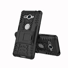 Silikon Hülle Handyhülle und Kunststoff Schutzhülle Tasche mit Ständer für Sony Xperia XZ2 Compact Schwarz