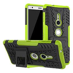 Silikon Hülle Handyhülle und Kunststoff Schutzhülle Tasche mit Ständer für Sony Xperia XZ2 Grün