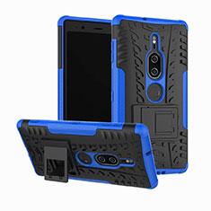Silikon Hülle Handyhülle und Kunststoff Schutzhülle Tasche mit Ständer für Sony Xperia XZ2 Premium Blau