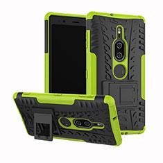 Silikon Hülle Handyhülle und Kunststoff Schutzhülle Tasche mit Ständer für Sony Xperia XZ2 Premium Grün