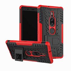 Silikon Hülle Handyhülle und Kunststoff Schutzhülle Tasche mit Ständer für Sony Xperia XZ2 Premium Rot